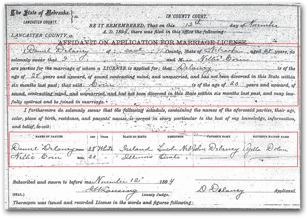 Marriage Record Dennis Delaney & Nellie Coin